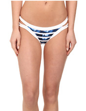 SEAFOLLY INKED STRIPE BRAZILLIAN BIKINI SWIM BOTTOMS PANT BLUE SIZE 6 NEW! $75