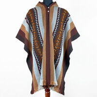 Llama wool Mens Womans Unisex South American Poncho Cape Jacket Pullover Brown