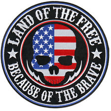 Land of the Free Skull EMBROIDERED 3.5 INCH IRON ON MC BIKER  PATCH