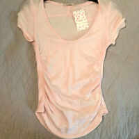 New We The Free People Sonnet Tee XS Side Gathered Shirt Chiffon Cake Pale Pink