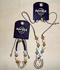 NEW! Necklace Bracelet HARD ROCK Lucky Horseshoe Pendant Crystal Clear Gems