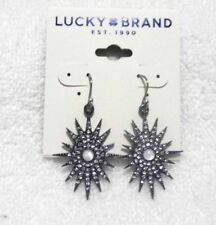 Lucky Brand Black and Silver Stone Drop Earrings