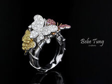 Spring Butterfly - Natural fancy color diamond sapphire design ring