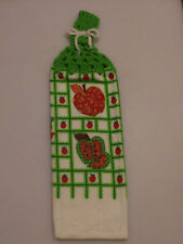 Kitchen Dish Towels W/ Crochet Tops - Apples