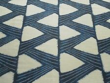 Zoffany Curtain Fabric KANOKO 3.35m Indigo Blue - Linen Mix Zig Zag Design 335cm