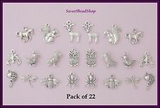 22 Antique Silver Colour Mixed Pack Wildlife Woodland Countryside Animal Charms