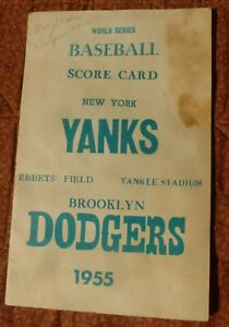 1955 Dodgers New York Yankees World Series Score Card, 3rd game, original owner