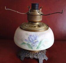 Antique 1890s Kerosene Oil Lamp Iris Satin Glass Font Wavecrest  Mt Washington?