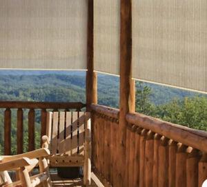 Coolaroo Outdoor Porch Shade - Roll Up Patio Blinds 4x6 Deck Sun Screen Air Flow