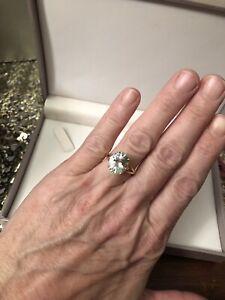 No Reserve! Vintage Estate 14K Natural Aquamarine & Diamond Ring