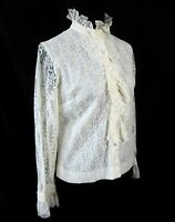 Judy Bond Ivory Lace Victorian Blouse Top Vtg 1960s Size 16-36 Ruffles Frilly