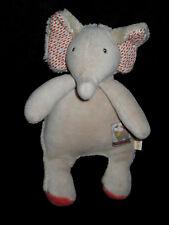 Doudou hochet grelot Elephant éléphant gris orange Les Papoum Moulin Roty 20 cm