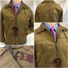 A Emporio Collezioni Faux Suede Jacket Small Brown Made In Italy NWT YGI 8554