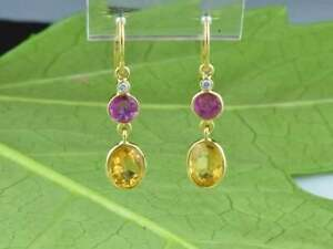 Handmade 18k Gold Earring Natural Ruby Yellow Citrine Diamond Woman Earring