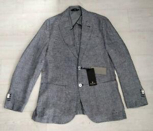 Men's Massimo Dutti Houndstooth Extrafine Linen Blazer - Size EU 52 / UK 42