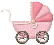 "48 Cute Girl Baby Carriage Shower! Sticker Label Envelope Seals 1.2"" Round"