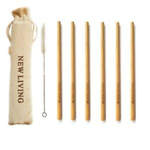 6x Bamboo Straws Party Drinking 20cm + Cleaner & Carry Case, Handmade Reusable