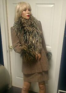 Womens Couture Vintage 90's Suit with Ostrich Feathers  Rare Lavantino Size 4