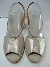 Clarks Collection Womens Sandals Size 9.5 M Gold Sling Back Peep Toe #B