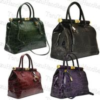 ITALY ITALIAN DOCTOR STYLE CROC GENUINE LEATHER PATENT LEATHER BAG MESSENGER