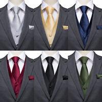 Silk Mens Size Formal Waistcoat Black Wedding Suit Vest No Pattern Waist Coat XL