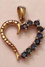 14k Yellow Gold .27 ct tw Blue Diamond Open Heart Pendant 1.3 Grams