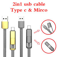 2in1 Micro USB Type C Charger Cable Lead For Samsung Huawei LG Google Sony Moto