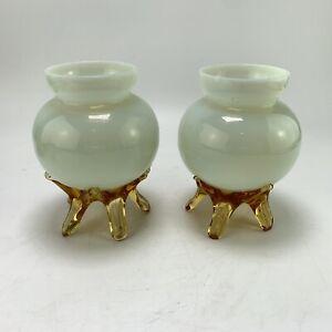Pair Vintage White Opalescent Vaseline Uranium Art Glass Posy Vase Bowls