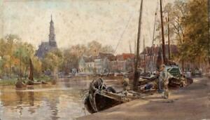 CONTINENTAL CANAL POSSIBLY AMSTERDAM? Watercolour Painting - 19TH CENTURY