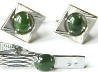 Vintage Jade Cabochon Cuff Link Set Etched Vtg Diamond-Shaped Cufflinks & Clip