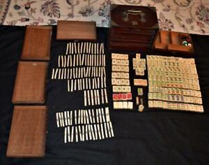 Antique RARE CHINA Mahjong Mah Jong 152 tiles 105 Sticks set w/ Rosewood? box