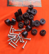 SET OF 12 SMALL 16mm. x 10mm. RUBBER FEET FOR CASES / AMPLIFIERS WITH SCREWS