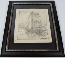 RARE ORIGINAL JONAS LIE HAND SIGNED PENCIL SKETCH BOAT HARBOR SCENE 1880-1940
