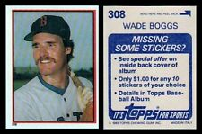 WADE BOGGS ROOKIE - 1983 TOPPS STICKER # 308 - HALL OF FAME - BOSTON RED SOX