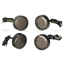 4x20 LED Amber Round Motorcycle ATV Bike Turn Signals Indicator Light Smoke 12V