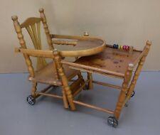 Ancienne chaise haute BOIS JOUET boulier vintage décor enfant pour poupée poupon