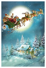 """Adventskalender Karte """"Schlittenflug"""" Weihnachtsmann mit Umschlag Glimmer"""