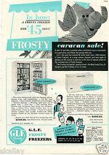 1959 Print Ad of GLF Frosty Freezers Miss Frosty 22 & Frosteen 17 Caravan Sale