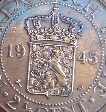 My coins -1945  Nederlandsch  Indie  2.1/2 cent copper crown size coin  ! aUNC!