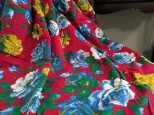 """Vintage Brushed Cotton Fabric Joan Kessler Roses 1yd + 20"""" x 43""""WYD"""