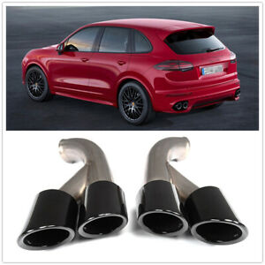 GTS Style Exhaust Tips Muffler Pipe For Porsche Cayenne V6 2015+ Glossy BLK
