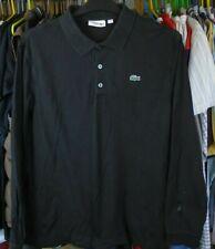 LACOSTE SPORT BLACK COTTON WAFFLE LONG SLEEVE POLO SHIRT TOP SIZE 6 / XL