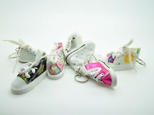 9 Pack 6 Pack 3 Pack Sparkle Canvas Mini Sneaker Shoe Keychain Keyring