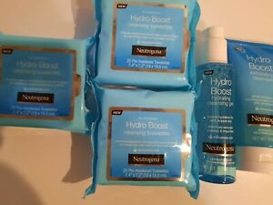 Neutrogena hydro boost Lot of 5 items, wipes makeup remover, exfoliating lotion