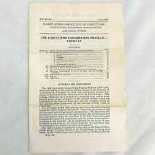 Vintage US Department Of Agriculture 1939 Agricultural Conservation Program