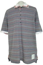 NEW, THOM BROWNE MEN'S GRAY STRIPED LONG POLO SHIRT, 5, $850