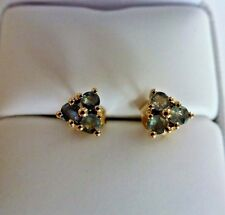 Rare Natural Color Change 0.6 ct Alexandrite 10K Yellow Gold Earring