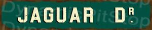 60x12cm Jaguar Drive Rustic Tin Street Sign, Man Cave, Bar, Garage, Vintage
