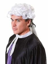 White Ringlet Court Judge Barrister Wig With Black Ribbon Fancy Dress P5637