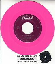 """BEATLES  All You Need Is Love  PINK VINYL 7"""" 45 rpm record + juke box strip NEW"""